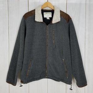 Orvis Gray Brown Thick Fleece Zip-up Jacket